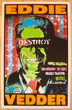 "Eddie Vedder w/ Glen Hansard - silkscreen concert poster (click image for more detail) Artist: Frank Kozik Venue: Brady Theater Location: Tulsa, OK Concert Date: 11/19/2012 Size: 22 1/2"" x 35"" Edition"