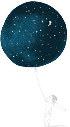 Starlight Print - modern - artwork - Cake with Giants Art And Illustration, Modern Artwork, Stars And Moon, Illustrators, Art Drawings, Art Photography, Balloons, Inspiration, Design