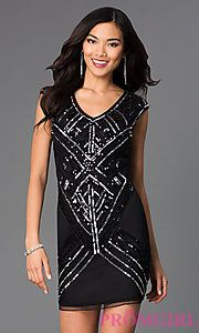 Buy Short V-Neck Sleeveless Dress at PromGirl