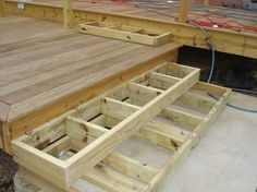Building Deck Steps Building Deck Stairs Boxes Design And Ideas Patio Steps, Steps For Deck, Outdoor Steps, Cement Steps, Deck Stairs, Deck Railings, Front Porch Stairs, Stairs Width, Aluminum Railings
