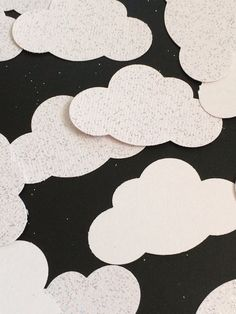 50 Cloud Glitter Paper Confetti. Baby Shower Party Table Decoration Supply.  2 inch Glitter Could on Etsy, $5.00