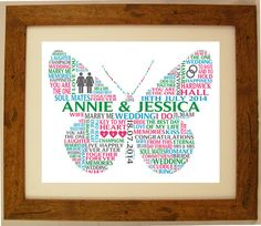 How to make personalised word art pictures love heart graphic personalised wedding butterfly word cloud art gift by artyalphabet pronofoot35fo Image collections