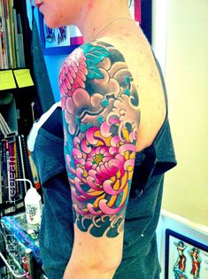 colourful japanese flower tattoo - Google Search