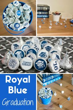 Make your own Royal Blue Graduation Favors with Simple Ready to Stick Stickers for Hershey Kisses.