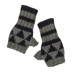 Noch Gray and Navy Fingerless Gloves