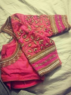 We shall hand embroidered blouse New Saree Blouse Designs, Simple Blouse Designs, Stylish Blouse Design, Bridal Blouse Designs, Sari Blouse, Hand Work Blouse Design, Designer Blouse Patterns, Skirt Patterns, Coat Patterns