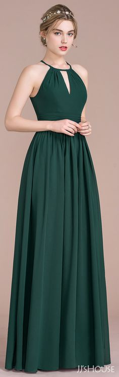 JJsHouse A-Line/Princess Scoop Neck Floor-Length Chiffon Bridesmaid Dress With Ruffle Trendy Dresses, Elegant Dresses, Cute Dresses, Beautiful Dresses, Short Dresses, Dress Outfits, Fashion Dresses, Dress Up, Green Dress Outfit