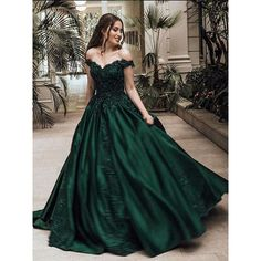 Ball Gown Off-the-Shoulder Sleeveless Floor-Length Lace Satin Dresses ($146) ❤ liked on Polyvore featuring dresses, gowns, green lace dress, off-shoulder lace dresses, off shoulder summer dress, off-the-shoulder dress and off the shoulder lace dress