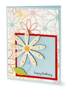 A sparkly chipboard flower is the perfect addition to this birthday card. The shimmer adds just a touch of shine and doesn't come off on the rest of the card. The red paper border adds a pop of color and picks up the accent color in the patterned paper.