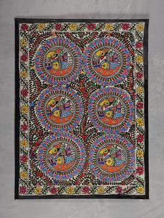 Buy Tree of Life with Peacock Madhubani Painting (30in x 22in) Online at Jaypore.com Madhubani Art, Madhubani Painting, Indian Art Paintings, Nature Paintings, Kalamkari Painting, Buy Pictures, Tribal Art, Mandala Design, Paint Designs