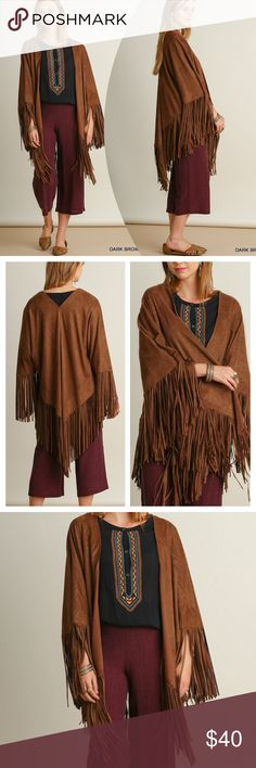 CHIC FRINGED OPEN KIMONO Suede like, open front kimono/wrap is a must this season! Asymmetrical fringe details and drapes perfectly! Polyester. Fits a variety of sizes. The M/L will fit a 3X and still look great on much smaller sizes. Also available in Charcoal in a separate listing. tla2 Jackets & Coats Capes