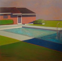Melissa Chandon, Pink House with Pool, 2013, Acrylic on canvas, 60″ x 60″