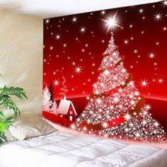 Wall Hanging Art Christmas Tree Star Print Tapestry