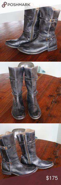 Bed Stu Black Motorcycle Boots Distressed Black (dark grey) motorcycle boots. Slouchy Handmade genuine leather. These are used condition and very comfortable. Soles show use but do not need repairs. Left heel is slightly more worn than right heel. Shine them up or leave them distressed. Bed Stu Shoes Combat & Moto Boots
