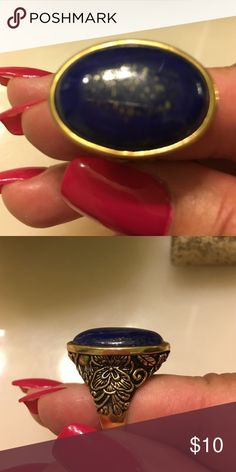 Beautiful midnight blue oval ring Midnight blue sapphire antique ring Jewelry Rings