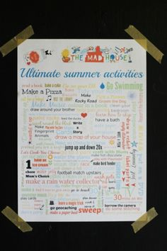Ultimate summer activities poster. Why not download your ultimate summer…