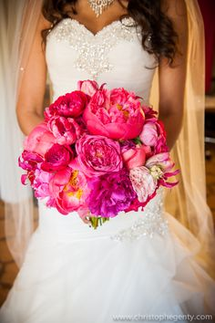 Hot pink bridal bouquet featuring peonies and roses | Tanya and Oscar's romantic Napa wedding | Photography: Christophe Genty Photography | See the full wedding: http://www.xaazablog.com/romantic-naps-wedding-by-christophe-genty-photography/