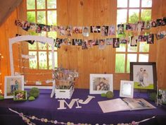 Sign in table ideas - love the string of pics and the caricature!
