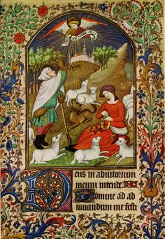 In this miniature from a French Book of Hours (c.1425-50), the shepherd's dog is tied to his girdle just as described in the 16th century English carol 'Jolly Wat the Shepherd' The Shepherd upon a hill was layd Hys doge to hys gyrdyll was tayd He had not slept but a lytill broyd But 'Gloria in Excelsis' was to him sayd! The shepherd also has some of the gear traditionally associated with shepherds: his pouch and crook, and some sort of mittens. To the right, the shepherdess is busily…