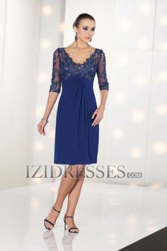 Sheath/Column V-neck Chiffon Lace Mother of the Bride Dress - IZIDRESSES.COM