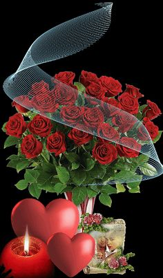 Beautiful Bouquet Of Flowers, Beautiful Flowers Wallpapers, Beautiful Rose Flowers, Love Rose, Love Flowers, Beautiful Love Pictures, Beautiful Gif, Love Images, Happy Valentine Gif