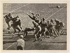 """Issued by National Chicle Gum Company, Cambridge, Massachusetts. Notre Dame's """"Quick Kick"""" Against Army, 1934, from the """"Baseball and Football"""" set (R311), issued by the National Chicle Company to promote Diamond Stars Gum, 1936. The Metropolitan Museum of Art, New York. The Jefferson R. Burdick Collection, Gift of Jefferson R. Burdick (Burdick 324, R311.34) #MetGridironGreats"""