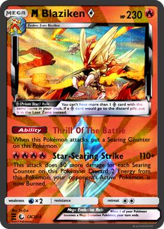 Oct-Nov M Blaziken Star by KnightofDust Original Pokemon Cards, Pokemon Cards Legendary, Cool Pokemon Cards, Rare Pokemon Cards, Pokemon Trading Card, Pokemon Cards Charizard, 150 Pokemon, Powerful Pokemon, Math Card Games