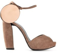 Pierre Hardy chunky heel peep toe sandals by Pierre Hardy at farfetch.com - Beige suede chunky heel peep toe sandals from Pierre Hardy featuring an open toe, an ankle strap with a side buckle fastening, gold-tone circular hardware and a chunky high heel.