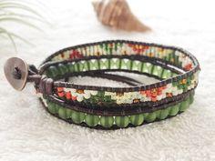 Dark Green Sea Glass Bracelet - Seed Bead Wrap Bracelet - Antique Brown Leather Bracelet - Surfer Jewelry Beachy Bracelet Beach Chic Surf by PinaHina on Etsy https://www.etsy.com/listing/278652724/dark-green-sea-glass-bracelet-seed-bead