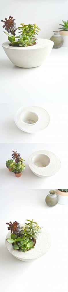 Vaso de plantas feito com cimento, faça você mesmo, aprenda o passo a passo. DIY - Como fazer um vaso de plantas de concreto