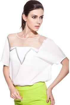 Sheer Mesh Splicing Oversized White Shirt