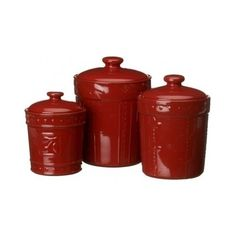 Antique Finish Ruby Canisters Set Of 3 Signature Collection Housewares Sorrento #Sorrento