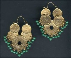 Dangly Gold Coin Earrings with Malachite by linguaNigra on Etsy, $115.00