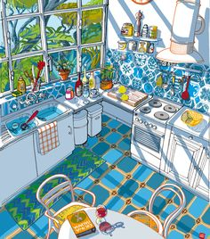 Italian kitchen in the summer light. Illustration by Carlo Stanga. ■♤♡◇♧☆■