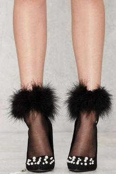 Feather Forecast Sheer Socks - Black - Accessories | Socks + Legwear | Party Shop | Fur | Gifts Under $50