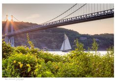 Pic of the Day...#HudsonRiver Sloop Clearwater sailing under the #Mid-Hudson Bridge, by Kate Schoonmaker Photography.