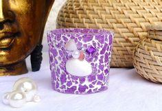Mosaik Deko Windlicht lila mit Perlen und Muscheln von LonasART auf DaWanda.com