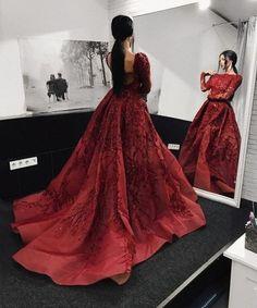 Long Sleeve Burgundy Prom Dress with Royal Train,Evening Dress,Prom Dresses BG161