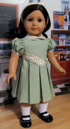 """1930's Spring Frock - Clothes Made to Fit 18""""  American Girl Doll, An Original  KeeperDollyDuds Design. $74.49, via Etsy."""