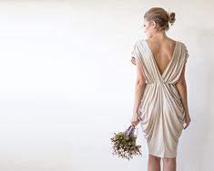 Champagne knee length bridesmaids dress with short by BLUSHFASHION