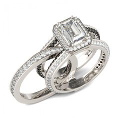 Interchangeable Halo Emerald Cut Created White Sapphire Wedding Set