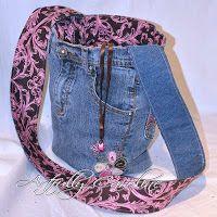 Artfully Caroline: Stashbusting - Jeans upcycled into fun purse