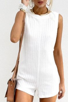 Refreshing White Backless Sleeveless Knitted Romper For WomenJumpsuits & Rompers | RoseGal.com