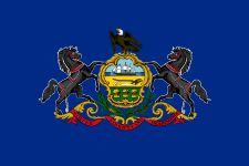 The coat of arms of Pennsylvania is an official emblem of the state, alongside the seal and state flag, and was adopted in 1778.[1] The flag of the Commonwealth of Pennsylvania consists of a blue field on which the state coat of arms is embroidered.