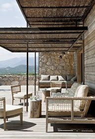 There are lots of pergola designs for you to choose from. First of all you have to decide where you are going to have your pergola and how much shade you want. Rustic Pergola, White Pergola, Wooden Pergola, Outdoor Pergola, Backyard Pergola, Pergola Plans, Deck With Pergola, Outdoor Spaces, Outdoor Living