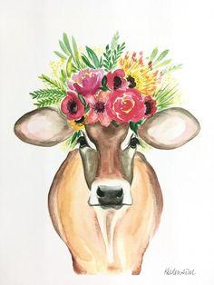 Watercolor Animals, Watercolor Print, Watercolor Paintings, Watercolor Paper, Tier Wallpaper, Animal Wallpaper, Animal Paintings, Animal Drawings, Paintings Of Cows