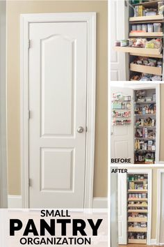 Learn how to maximize your space with these pantry organizing ideas. Youll be amazed at how much you can fit into a small pantry. Having an organized pantry with pull-out shelves will save you time and make dinner prep so much easier. Small Pantry Closet, Small Kitchen Pantry, Small Pantry Organization, Pantry Room, Kitchen Pantry Design, Kitchen Pantry Cabinets, Home Decor Kitchen, Organizing Ideas, Organized Pantry