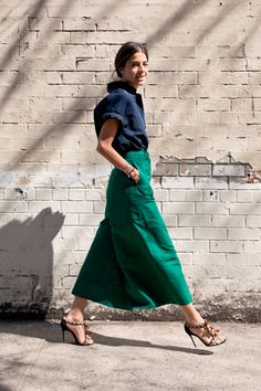 Green silk long culottes + navy rolled sleeve blouse + strappy embellished sandals :: Consider the Culottes | Man Repeller