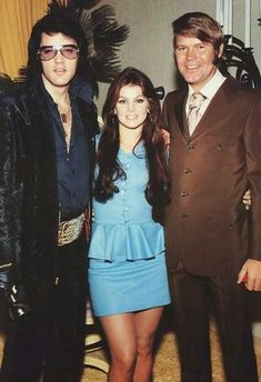 Glen Campbell and Elvis Presley with Priscilla at Graceland