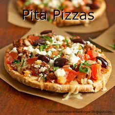 Pita Pizzas - Enjoy this pizza pie with luscious tomatoes, rosemary-seasoned ground beef and crumbly feta cheese. The flavours work perfectly with hearty pita bread crust. http://100waystopreparehamburger.blogspot.ca/